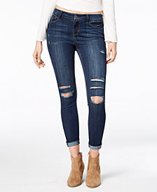 American Rag Juniors' Ripped Cuffed Skinny Ankle Jeans, Created for Macy's