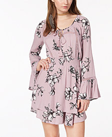 American Rag Juniors' Printed Crochet-Trimmed Peasant Dress, Created for Macy's