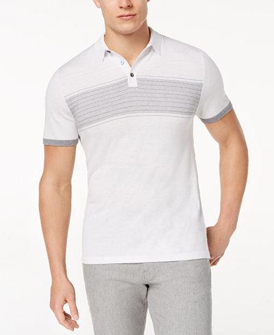 Alfani Men's Stripe Knit Polo, Created for Macy's