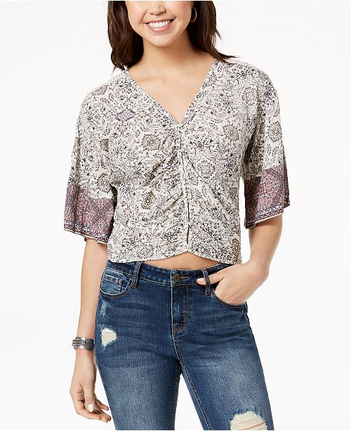 f2ee9f27a20087 American Rag. Juniors  Ruched Tie-Back Printed Top