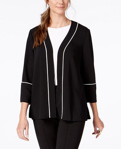 Alfani Petite Pleated-Back Belted Jacket, Created for Macy's