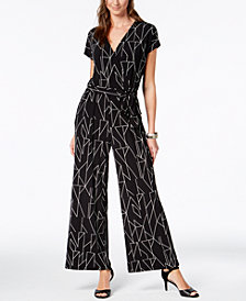 Alfani Printed Wide-Leg Jumpsuit, Created for Macy's