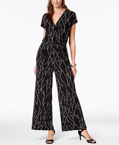 Alfani Petite Printed Wide-Leg Jumpsuit, Created for Macy's