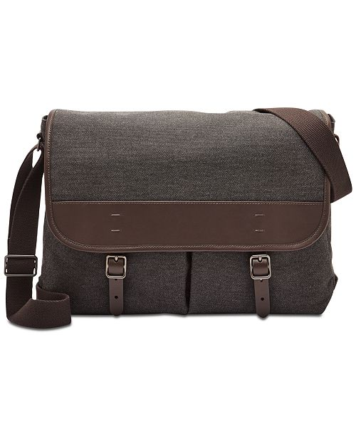082085abdc Fossil Men s Buckner Canvas Messenger Bag   Reviews - All ...