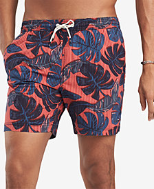 "Tommy Hilfiger Men's 6.5"" Glover Stretch Palm-Print Seersucker Swim Trunks, Created for Macy's"