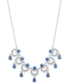 "Silver-Tone Cubic Zirconia  Link Statement Necklace, 16"" + 3"" extender, Created for Macy's"