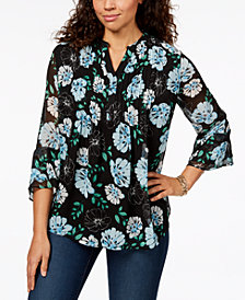 Charter Club Petite Floral-Print Pleated Top, Created for Macy's