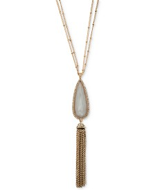 "lonna & lilly Gold-Tone Pavé, Stone & Chain Tassel 32"" Double-Chain Pendant Necklace"