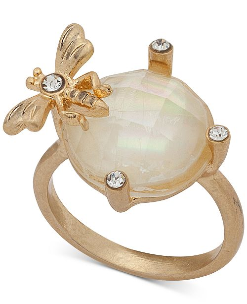 lonna & lilly Gold-Tone Pavé & Stone Bee Ring, Created for Macy's