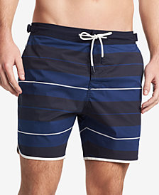 "Tommy Hilfiger Men's 6.5"" Russo Stretch Stripe Swim Trunks, Created for Macy's"