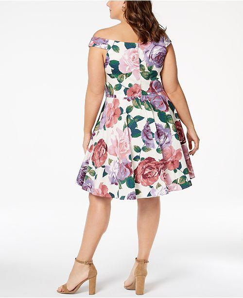7e94c4e9cbf City Studios Trendy Plus Size Printed Off-The-Shoulder Dress ...