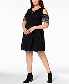 Style & Co Plus Size Embroidered Cold-Shoulder Dress, Created for Macy's