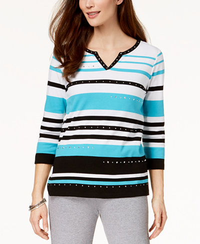 Alfred Dunner Play Date Striped Top