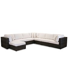 Viewport Outdoor 8-Pc. Modular Seating Set (3 Corner Units, 4 Armless Units and 1 Ottoman), Created for Macy's