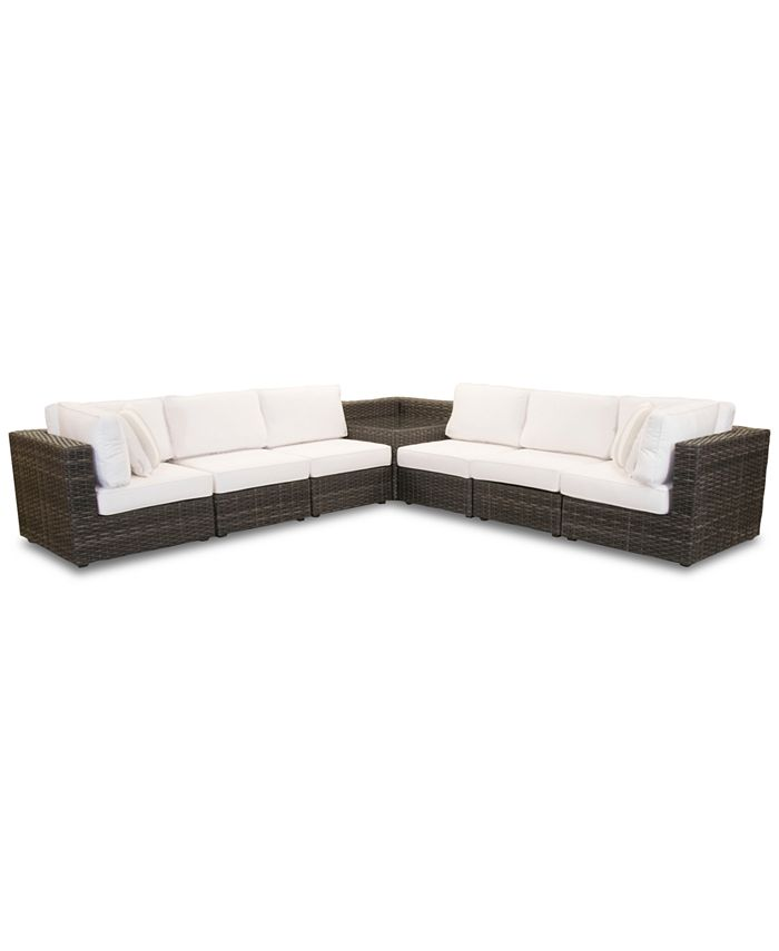 Furniture - Viewport Outdoor 7-Pc. Modular Seating Set (2 Corner Units, 4 Armless Units and 1 Corner Table)