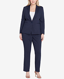 Tahari ASL Plus Size Striped Pantsuit