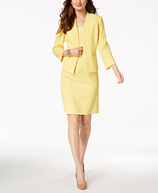 Kasper Textured Collarless Blazer & Sheath Dress