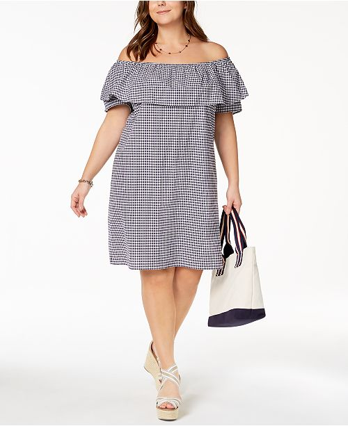 eda4c4e4c39 Tommy Hilfiger Plus Size Cotton Gingham Off-The-Shoulder Dress ...