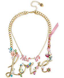 "Betsey Johnson Gold-Tone 2-in-1 (Not in) Love Stone Statement Necklace, 13"" & 16"" + 3"" extender"