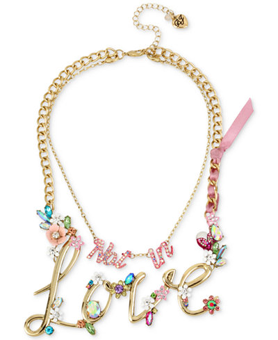 Betsey Johnson Gold-Tone 2-in-1 (Not in) Love Stone Statement Necklace, 13