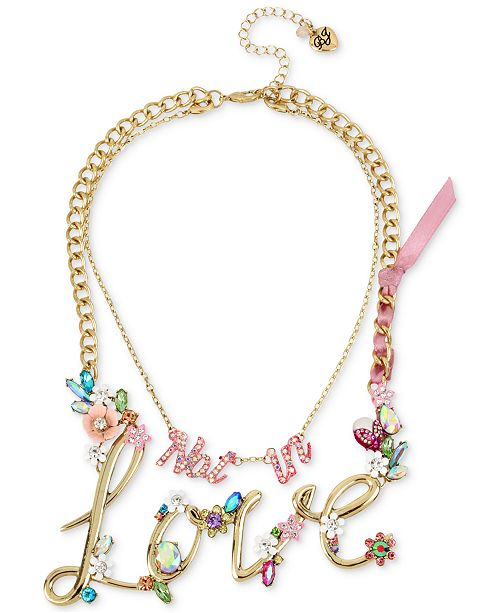 Gold-Tone 2-in-1 (Not in) Love Stone Statement Necklace, 13
