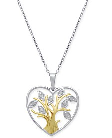 "Diamond Family Tree 18"" Pendant Necklace (1/10 ct. t.w.) in Sterling Silver & 18k Gold-Plate"