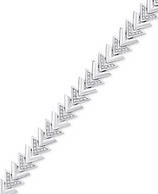 Diamond Accent Chevron Link Bracelet in Silver-Plate