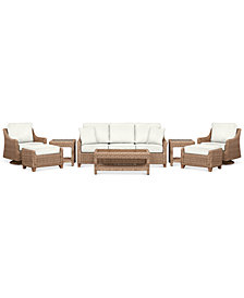 Willough Outdoor 8-Pc. Set (1 Sofa, 2 Swivel Gliders, 1 Coffee Table, 2 Ottomans & 2 End Tables), Created for Macy's