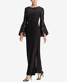 Lauren Ralph Lauren Floral-Embroidered Bell-Sleeve Gown