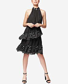 Betsey Johnson Polka Dot Ruffled Halter Dress, Created for Macy's