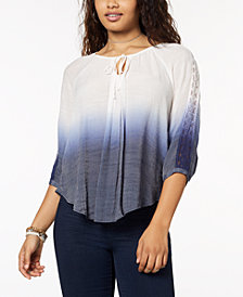 BCX Juniors' Crochet-Trimmed Ombre Peasant Top