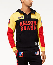 Reason Men's Explorer Colorblocked Logo-Print 1/4-Zip Hoodie