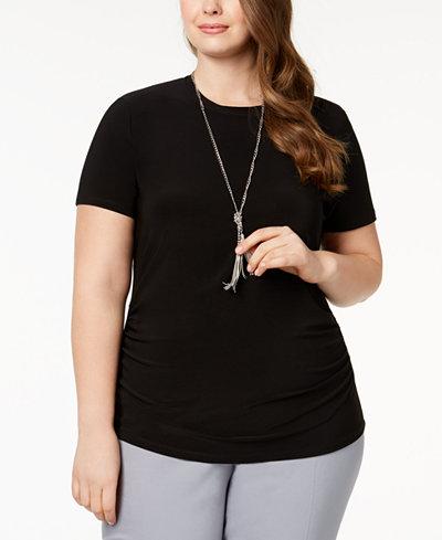 Anne Klein Plus Size Shirred T-Shirt