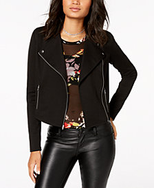 Material Girl Juniors' Lace-Up Moto Jacket, Created for Macy's