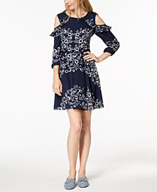 Maison Jules Printed Cold-Shoulder Dress, Created for Macy's