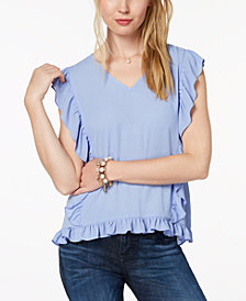 Maison Jules Ruffled V-Neck Top, Created for Macy's