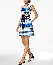 Ellen Tracy Petite Belted Striped Dress