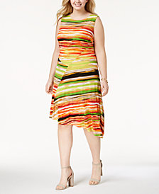 Ellen Tracy Plus Size Printed Asymmetrical Dress