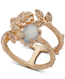 lonna & lilly Gold-Tone Stone, Flower & Leaf Double-Row Ring, Created for Macy's