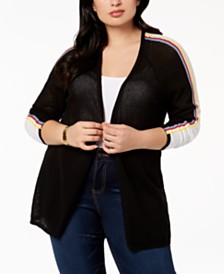 Belldini Plus Size Striped Open-Front Cardigan