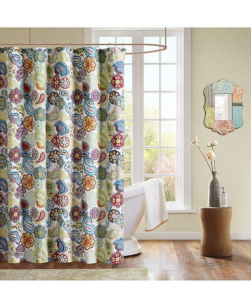 Mi Zone Tamil 72 X Paisley Print Shower Curtain