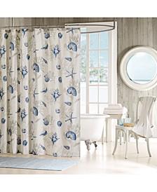 "Bayside Cotton 72"" x 72"" Seashell-Print Shower Curtain"