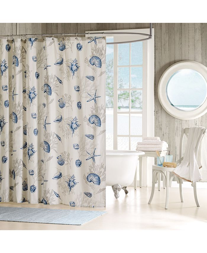 "Madison Park - Bayside Cotton 72"" x 72"" Seashell-Print Shower Curtain"
