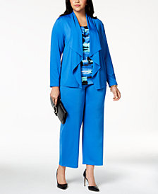 Kasper Plus Size Draped Blazer, Pleated Shell & Straight-Leg Pants