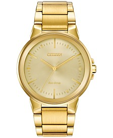 Eco-Drive Men's Axiom Gold-Tone Stainless Steel Bracelet Watch 41mm