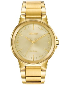 Citizen Eco-Drive Men's Axiom Gold-Tone Stainless Steel Bracelet Watch 41mm