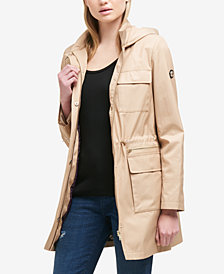 DKNY Hooded Cinched-Waist Raincoat