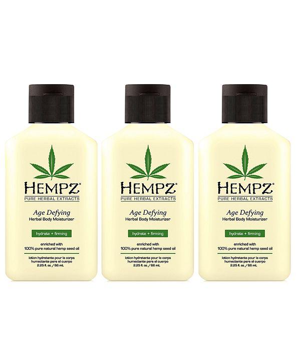 Hempz Age Defying Herbal Body Moisturizer Trio (Three Items), 2.25-oz., from PUREBEAUTY Salon & Spa