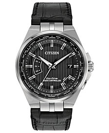 Citizen Eco-Drive Men's World Perpetual A-T Black Leather Strap Watch 42mm