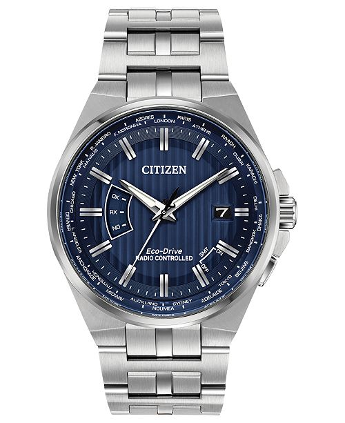 Citizen Eco-Drive Men's World Perpetual A-T Stainless Steel Bracelet Watch 42mm
